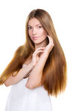 Girl with long hairs and clean skin face Stock Images