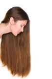 Girl with long hairs and clean skin face Stock Photo