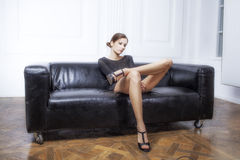 Girl with long legs effect films Stock Photos
