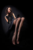 Girl with long legsl against black background Royalty Free Stock Photo