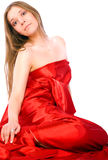 Girl in long red dress Royalty Free Stock Photography