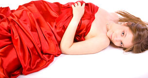 Girl in long red dress Royalty Free Stock Photos