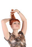 Girl with the long red hair Stock Photos