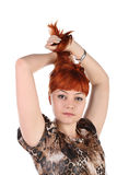 Girl with the long red hair Stock Images