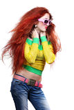 Girl with long red hair in fashion sunglasses Royalty Free Stock Images