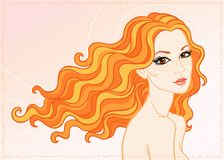 The girl with long red hair. Vector illustration a portrait the girl with long red hair and freckles Royalty Free Stock Images