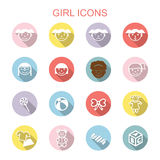 Girl long shadow icons Royalty Free Stock Photography