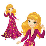 Girl In Long Star Dress. Vector illustration of beautiful fashionable blonde party girl in long burgundy star dress Stock Photos