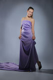 Girl in long violet dress Stock Image