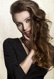 Girl with long volume hair Royalty Free Stock Image