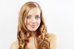 Girl with long wavy hair Stock Photos