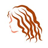 Girl with long wavy hair, profile, outlines royalty free illustration