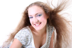 Girl with long windy hair Stock Images