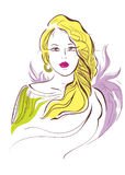 Girl with long yellow hair. Illustration girl with long yellow hair Stock Images
