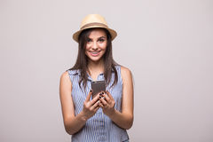 Girl  look at phone on hands Royalty Free Stock Images