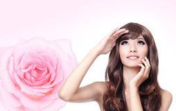 Free Girl Look Up Forward With Smile And Pink Rose Stock Photo - 23862830
