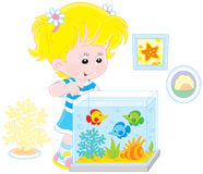 Girl looking at aquarium fishes vector illustration