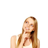 Girl Looking At Blank Space Stock Photo
