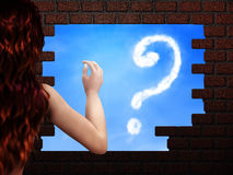 Girl Looking At Cloud Sign In Hole In Brick Wall Royalty Free Stock Image