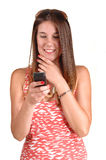 Girl Looking At Phone. Stock Photography