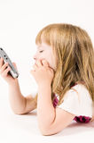 Girl Looking At Phone Royalty Free Stock Photo