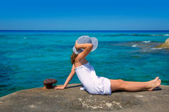 Girl looking at beach in Formentera turquoise Mediterranean Royalty Free Stock Photos