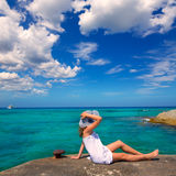 Girl looking at beach in Formentera turquoise Mediterranean Stock Photography
