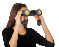 Girl Looking Through Binoculars Stock Photography
