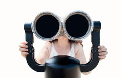 Girl looking through binoculars Royalty Free Stock Photos