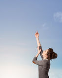 Girl looking at the blue sky copyspace Stock Photos