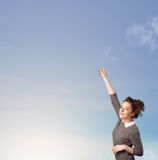 Girl looking at the blue sky copyspace Royalty Free Stock Photos