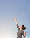 Girl looking at the blue sky copyspace Stock Image