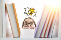 Girl looking for business ideas Stock Images