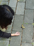 Girl looking at butterfly. Girl kneeling on cobbled street to examine a tropical butterfly which has alighted on the cobbles Royalty Free Stock Photo