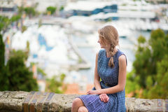Girl looking at the city of Cannes Stock Image