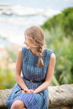 Girl looking at the city of Cannes Royalty Free Stock Photography