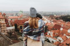Girl looking on cityscape in Europe stock image