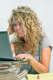 Girl looking at computer Stock Photos