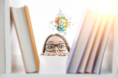 Girl looking for creative ideas Royalty Free Stock Images