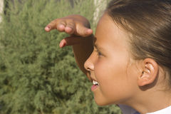 Girl looking at distance Royalty Free Stock Images