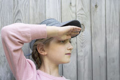 Girl Looking Into The Distance Stock Images