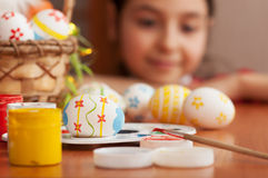 Girl looking for Easter eggs Royalty Free Stock Photography