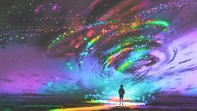 Girl looking at the fantasy cosmic storm. Little girl standing in front of fantasy cosmic storm, the black tornado with colorful stars, digital art style Stock Photography