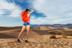Girl Looking Far And Standing In Death Valley Stock Photos