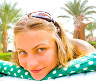 Girl looking funny Royalty Free Stock Photo