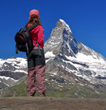 Girl looking at the Matterhorn Royalty Free Stock Photography
