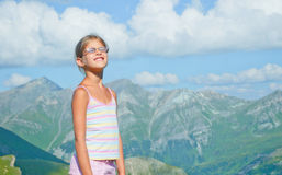 Girl Looking At The Mountains Stock Photos