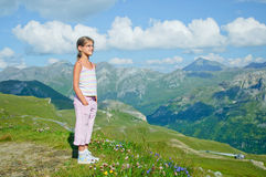 Girl Looking At The Mountains Stock Photo
