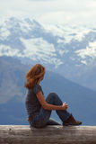 Girl looking at the mountains Royalty Free Stock Photos