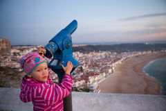 Girl looking at Nazare Royalty Free Stock Images